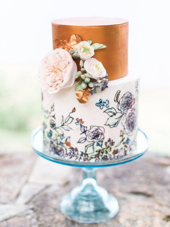 Wedding cake with painted blooms and a metallic top. Isn't it fabulous?