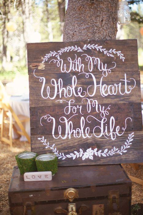 Perfecto para una ceremonia al aire libre o en tus invitaciones de boda. Con todo mi corazón para toda my vida.