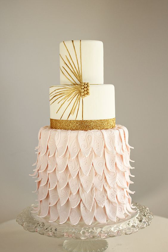 Pink and gold wedding cake by andreahowardcakes