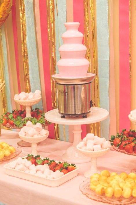 Gold and pink chocolate fountain ideas. Add a little glam to your dessert table.