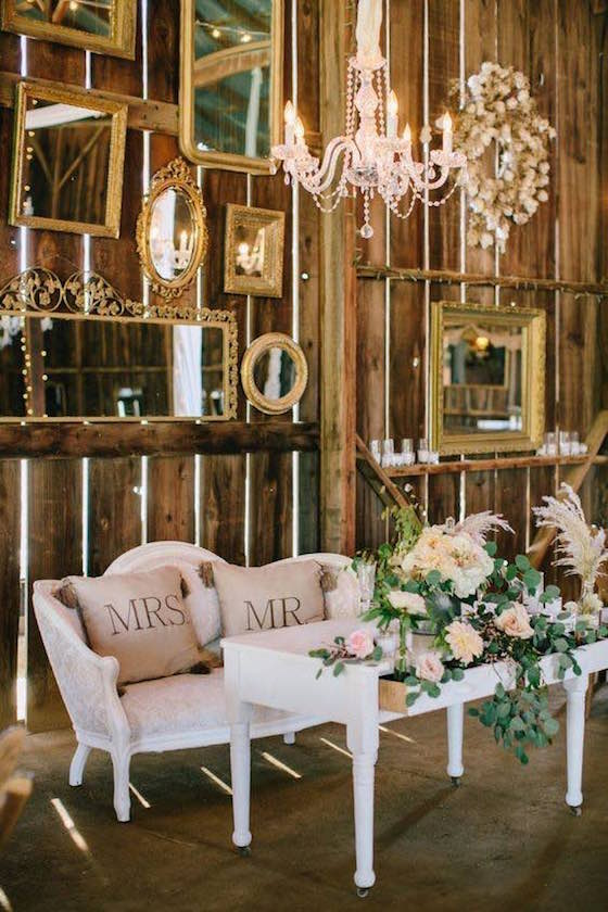 Stunning rustic indoor barn wedding reception ideas.