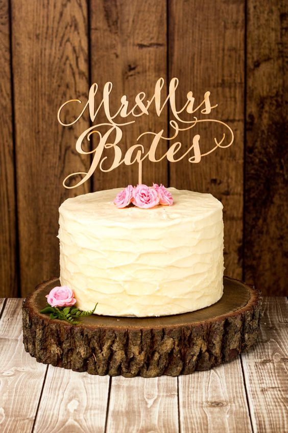 Custom rustic wedding cake topper.