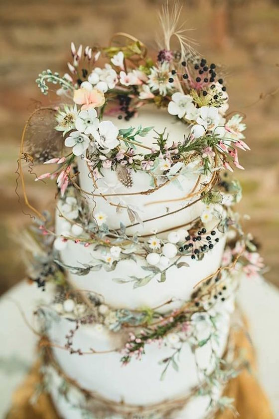 3 tiered wild and whimsical rustic wedding cake.