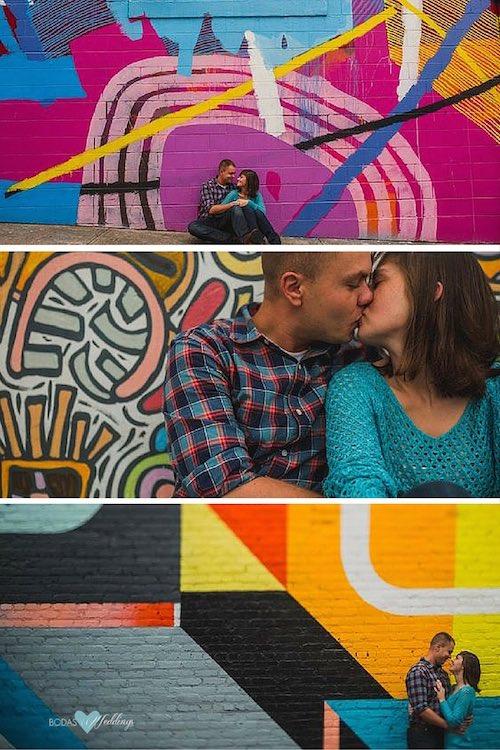 Street art y una sesión de fotos de compromiso o pre-boda muy colorida. Storme & Adam fotografiados por Christian David Photo.