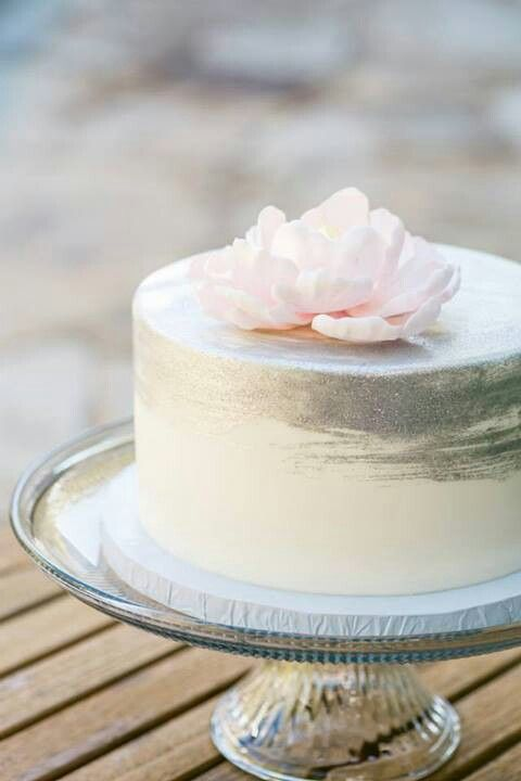 Gorgeous blush pink with silver single tier wedding cake by Sweet on Cake.