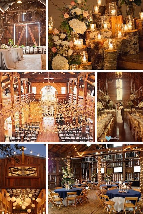 Stunning barn weddings. Rustic meets refined | Tree stump and candle ceremony decor. Elegant January barn wedding Salem, OR | A barn wedding ceremony. Love the garlands filled with stars. | Mountain lodge for a rustic gold wedding | Barn wedding | Navy barn wedding reception