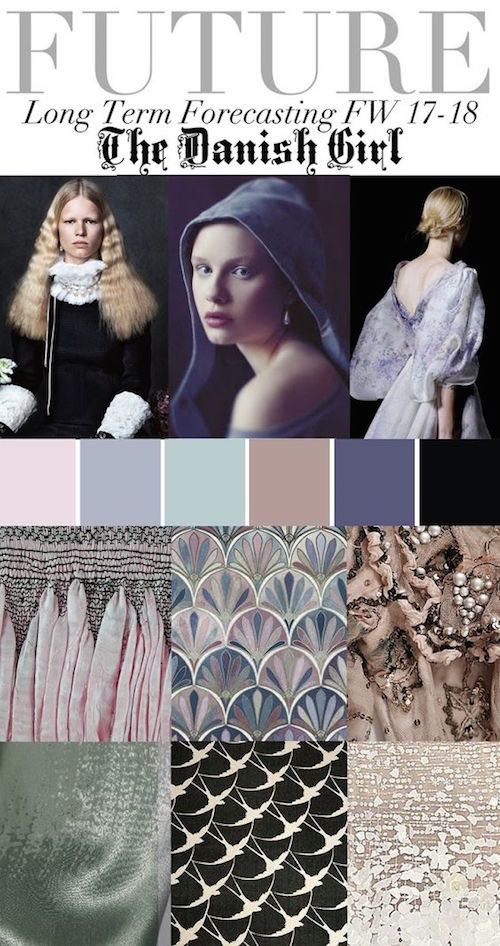 Predictions 2017-2018 The Danish Girl. Grey, powder pink and blue, sienna, slate and black. A very rustic color palette, perfect for Barn Weddings is the forecast the Trend Council, a fashion trend forecasting company who delivers expert analysis and design inspirations, is what's in store for 2017-2018.
