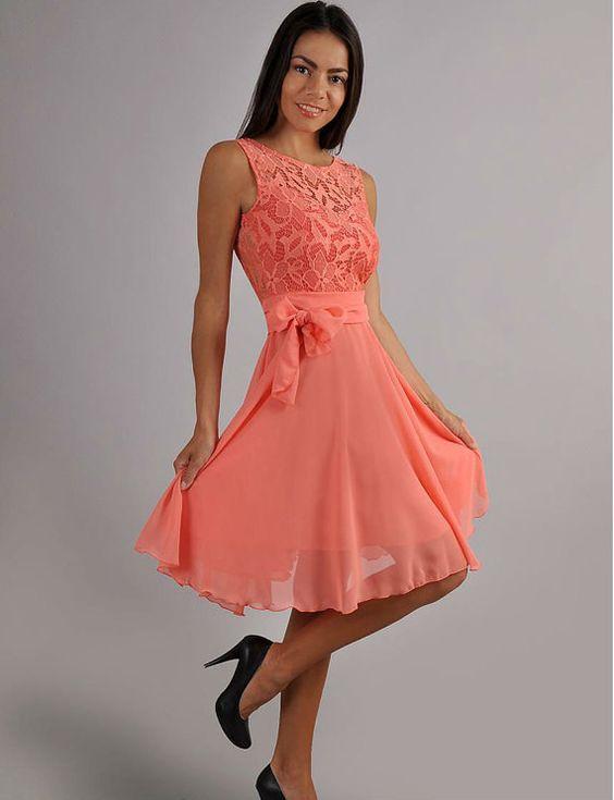 Precioso para una boda en primavera o verano. Vestido de madrina 2016 corto en chiffon y encaje en coral. (todas las tallas)