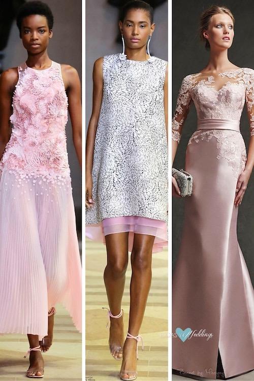 Vestidos de madrina en rosa. Bellísimos vestidos largo y corto de Carolina Herrera Spring 2016 & un vestido de madrina con mangas con bordados translúcidas.