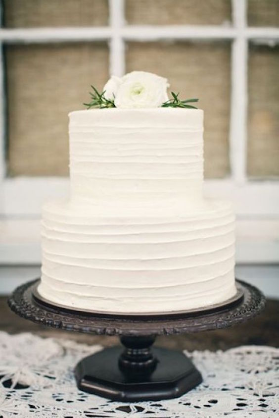 White wedding cake. Minimalism and elegance.