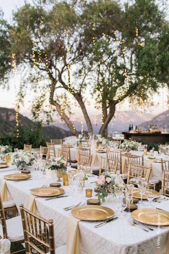 Vineyard gold wedding decoration in Saddlerock, Malibu captured by jwileyphotography
