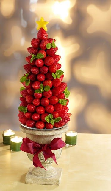 Strawberry Christmas tree centerpiece for the chocolate fountain.