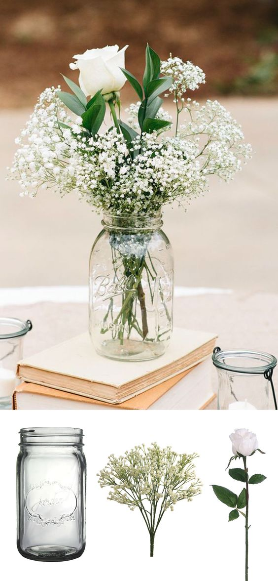 Afloral brings us this easy DIY for simple wedding centerpieces. How to make affordable wedding centerpieces: Simply place your favorite flowers in a glass vases or in mason jars. Simply spectacular!