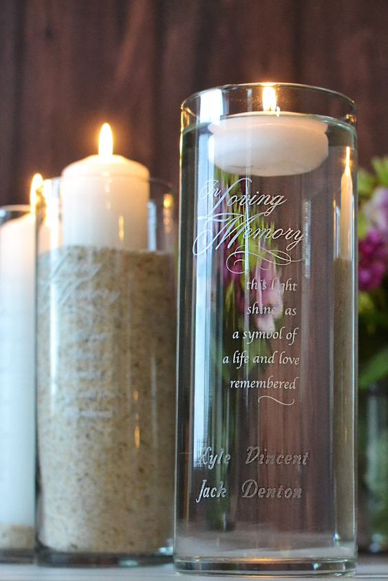 Keep loved ones who can't be present on your wedding day close to everyone's heart with an In Loving Memory memorial candle.