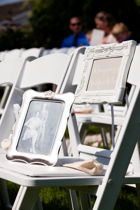 How to honor your loved ones who cannot be at your wedding. In Loving Memory reserved seat.