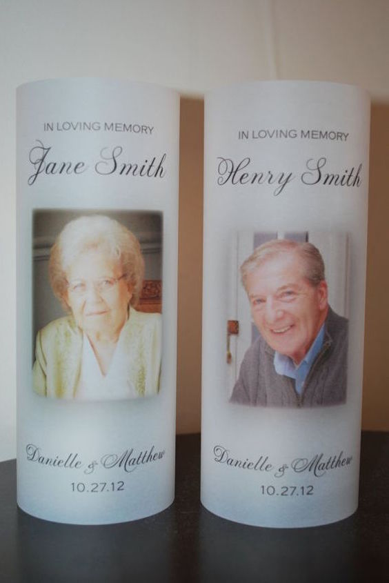 In Loving Memory wedding candles. You can do it yourself with vellum paper.