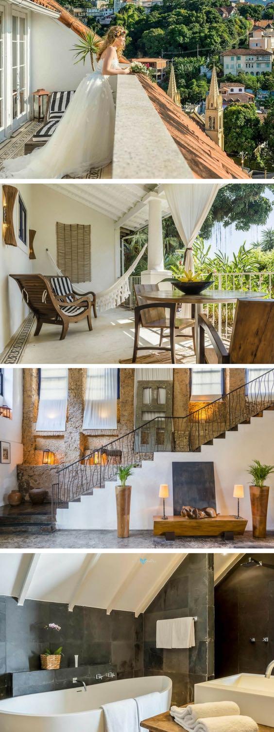 Santa Teresa Hotel RJ MGallery de Sofitel. Habitaciones en suite con todo lo necesario para ser romántico. Gran puesta de sol terraza con mejores cócteles y una gran vista del océano.