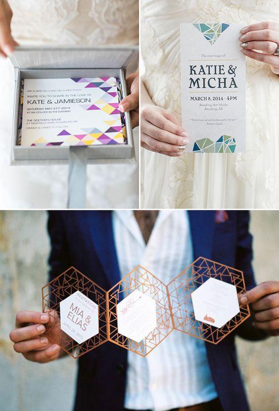 Tendencias en invitaciones para bodas 2017: Geometría moderna.