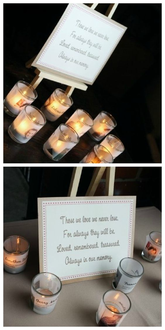 Wedding memorial candles. In memory of those lost, but never forgotten - such a sweet idea.