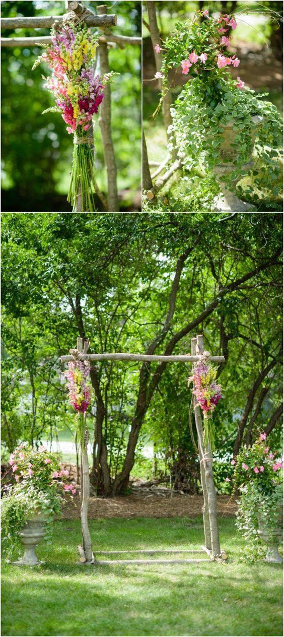 Arco de flores con ramas. Una idea dulce y adorable.