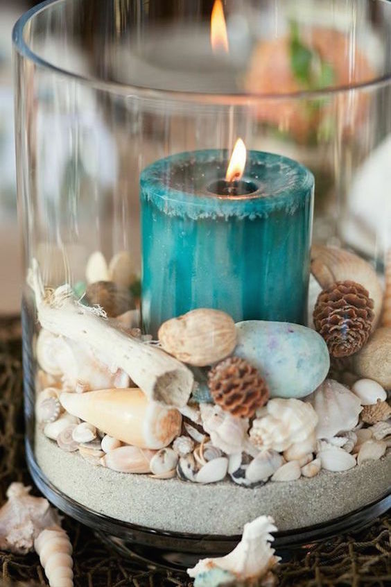 Beach themed inexpensive wedding centerpieces.