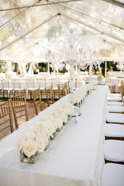 Chic and affordable centerpieces. Consider using flowers like Queen Anne's lace or hydrangeas that are easy on your wallet.