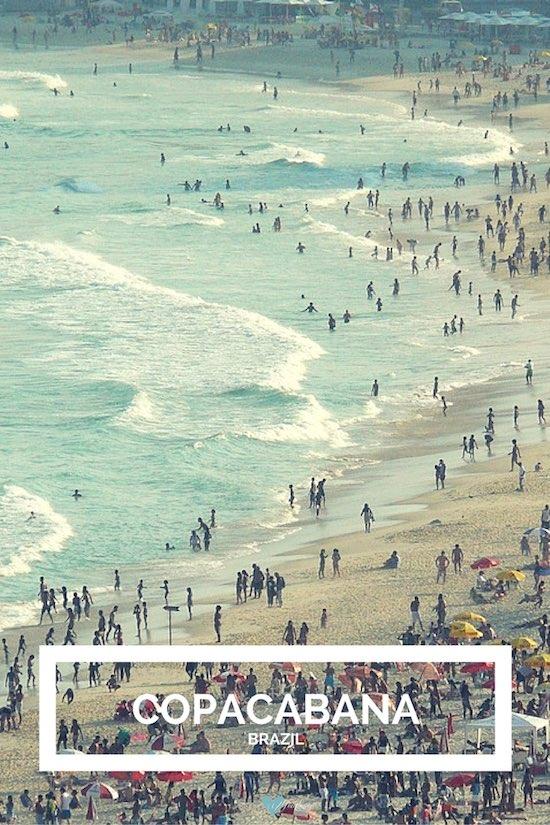 Copacabana, Río de Janeiro. Una gran concentración de hoteles y con aguas más calmas que en las playas anteriores.