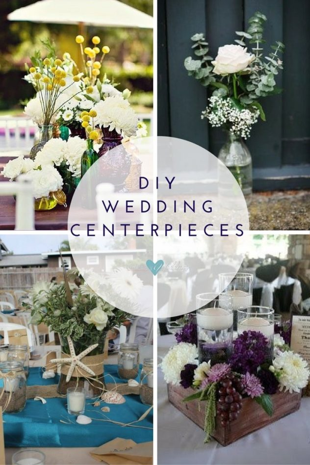 DIY wedding centerpieces: Jewel toned table arrangement| Simple, relaxed wedding decor is a huge trend | Beach themed wedding centerpiece | The wooden box adds a country touch to this beautiful wedding reception