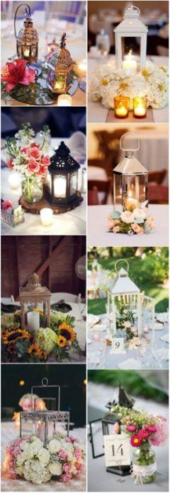 Una tendencia que se impone es el uso de faroles para bodas como centros de mesa en formas creativas.
