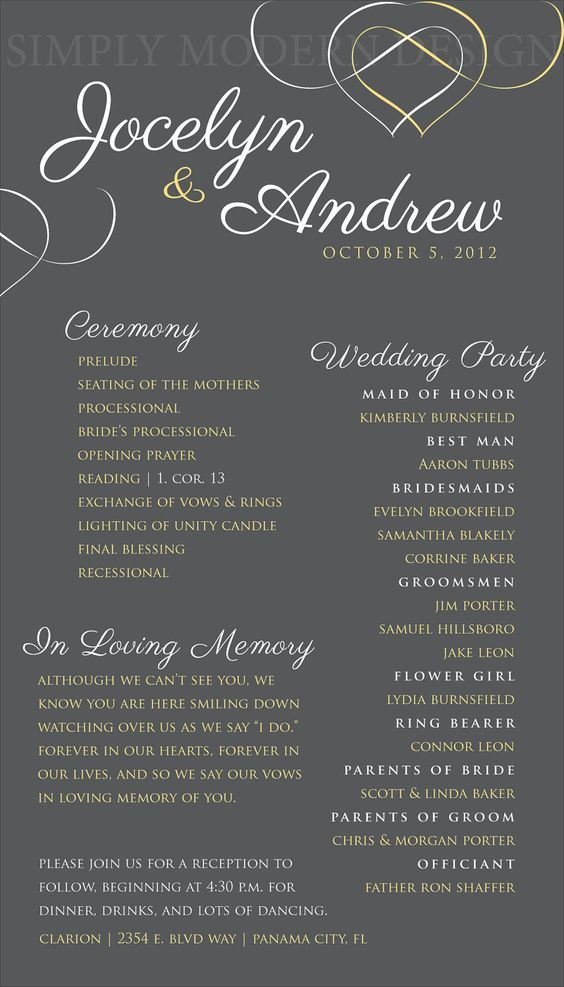 Modern and printable in loving memory wedding programs.