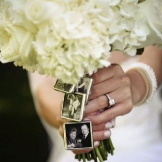 In-memory-of bridal bouquet. A very personal and adorable way of honoring the loved ones that have passed at your wedding.