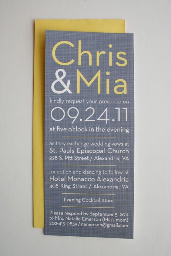 Una invitación para bodas simple y hermosa en gris y amarillo.
