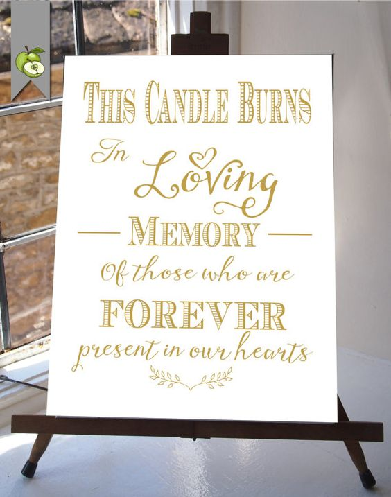 """This Candle Burns In Loving Memory"" printable memorial wedding sign."