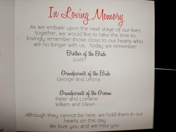 Unique Wedding Memorial Ideas In Loving Memory