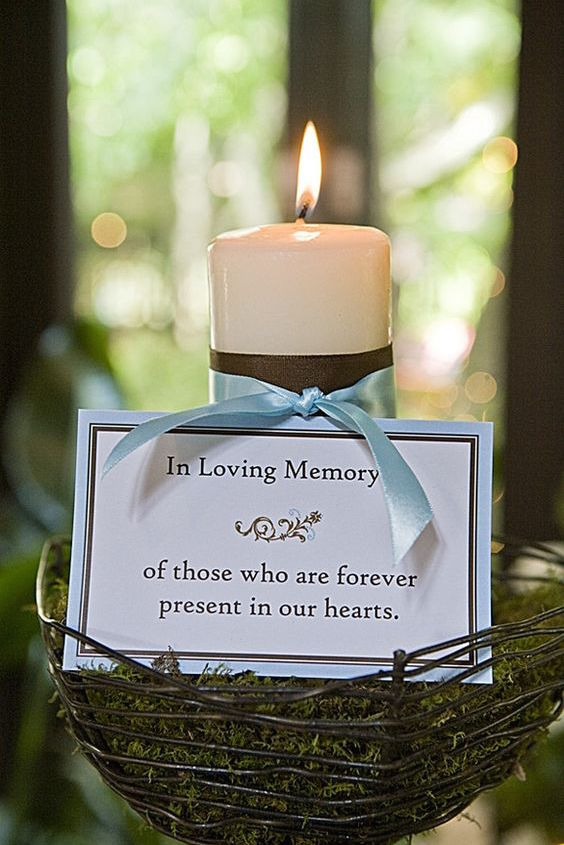 Remembrance candles with a small note. A delicate gesture that says you would like them with you on your special day.