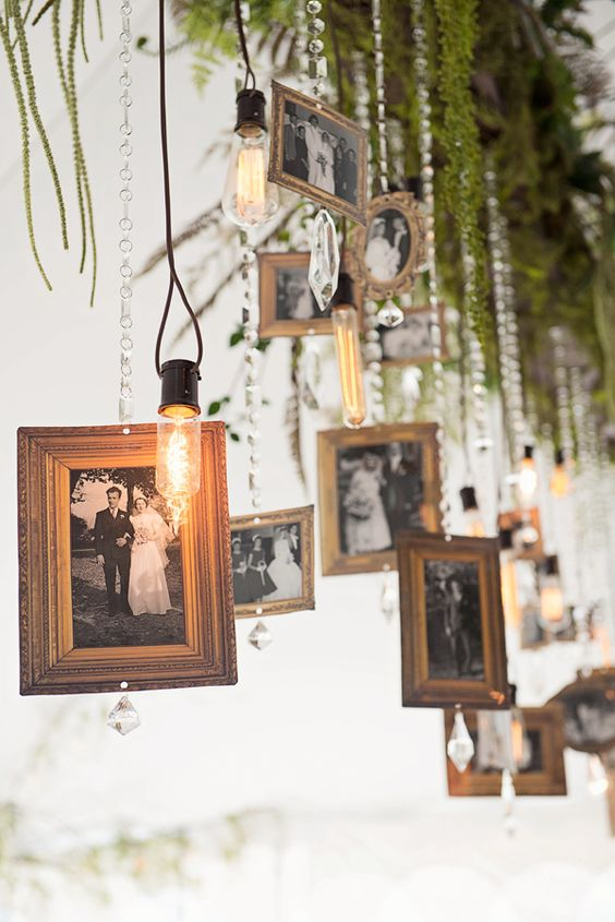 Remembrance ideas: hanging picture frames photography by Tammy Swales.
