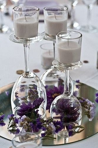 An Awesome Idea For DIY Table Centerpieces Is To Turn Different Size Wine Glasses