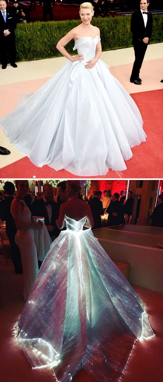 A Zac Posen creation for Claire Danes that glows in a Cinderella-like gown lined with fiber optics.