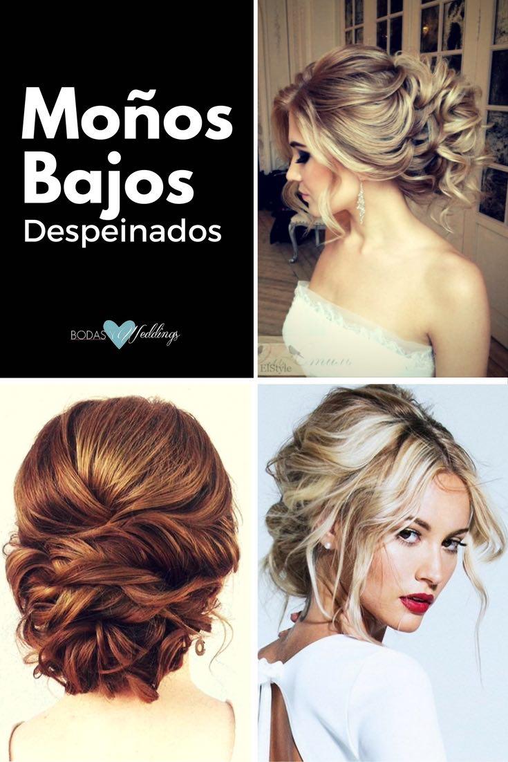 Moños Bajos Despeinados: Peinados para bodas con deliciosa elegancia | Una hermosa combinación de peinado formal con un toque de informalidad | Moño bajo con pelo rizado