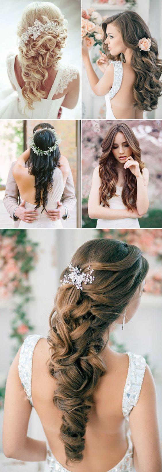 Peinados de novia sueltos para pelo largo.