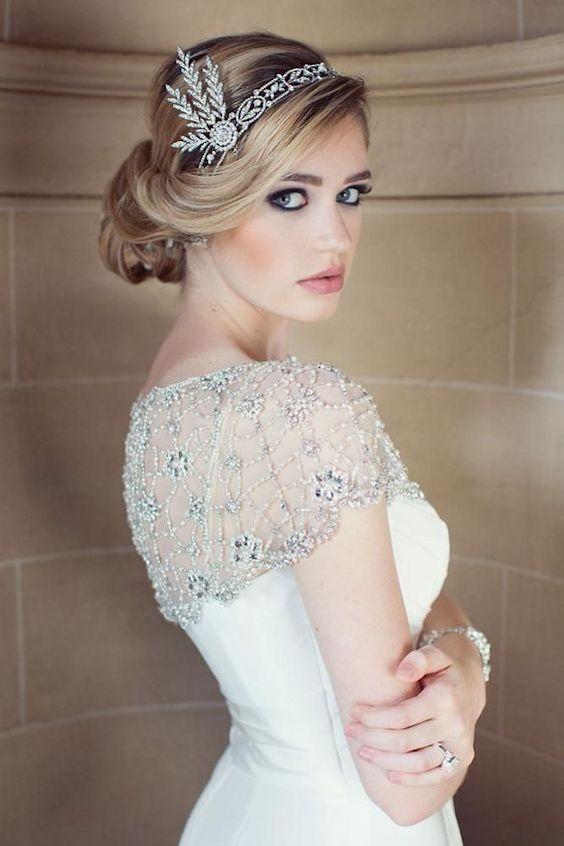 Peinados de novia vintage estilo Gatsby.