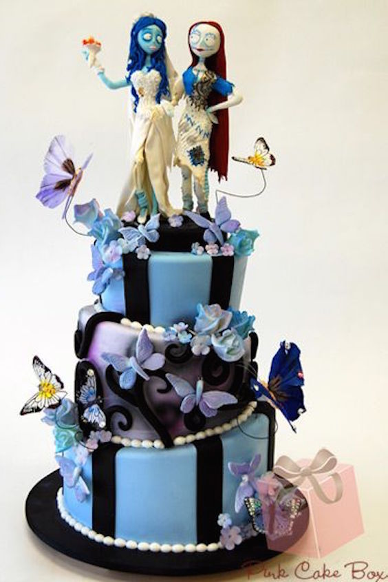 The corpse bride meets Sally Halloween wedding cake by Pink Cake Box.