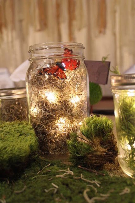 Woodland wedding decor, mason jar butterfly & moss.