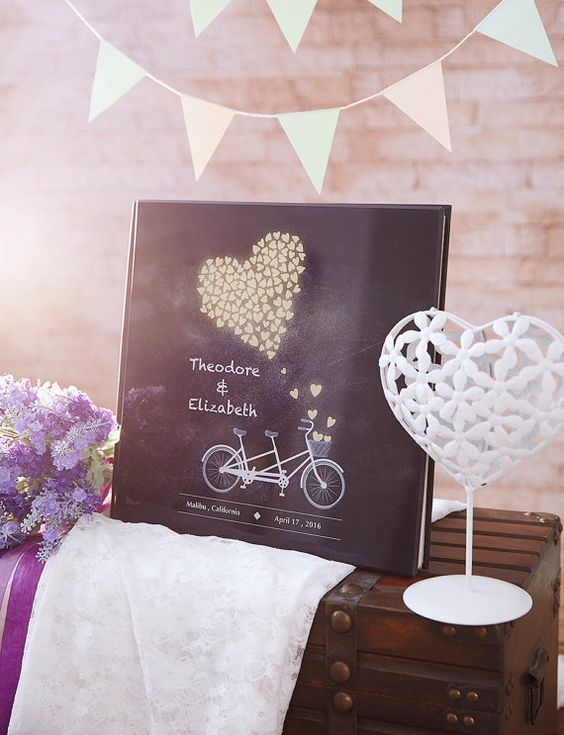 Are sports your thing? How about this tandem bike wedding guest book?