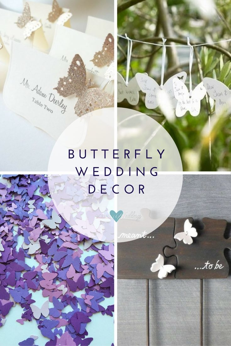 butterfly wedding decor ideas: Butterfly wedding seat cards | DIY butterfly guest sign-in cards | Purple butterfly confetti by FreshlyCutCrafts | Cake topper puzzle piece with butterflies by FreshlyCutCrafts