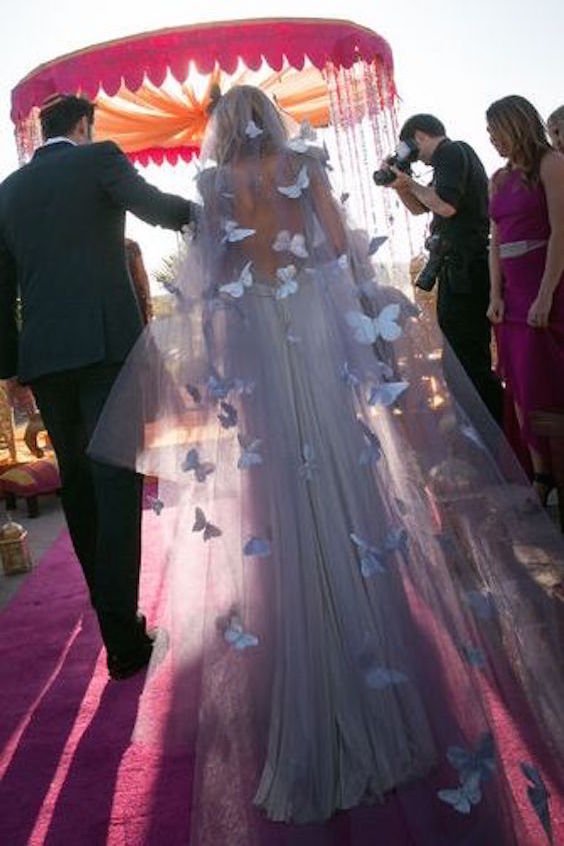 Moroccan-themed wedding with a beautifully embroidered butterfly wedding dress.