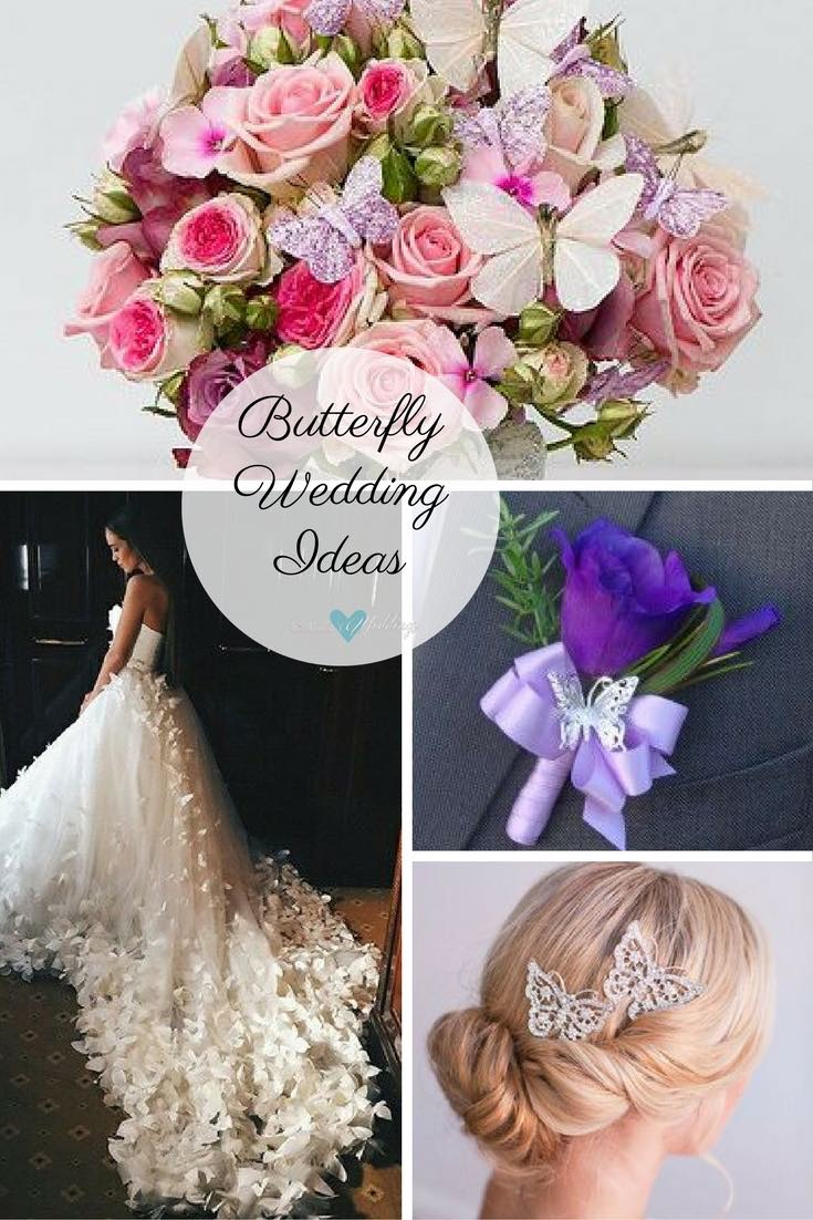 Butterfly wedding ideas for brides: Trimmed butterfly wedding bouquet captured by Confetti on Flickr | Ruche | Purple silk lisianthus and silver butterfly boutonniere | Butterfly details