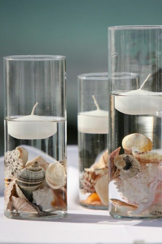 Great centerpieces for a beach wedding.