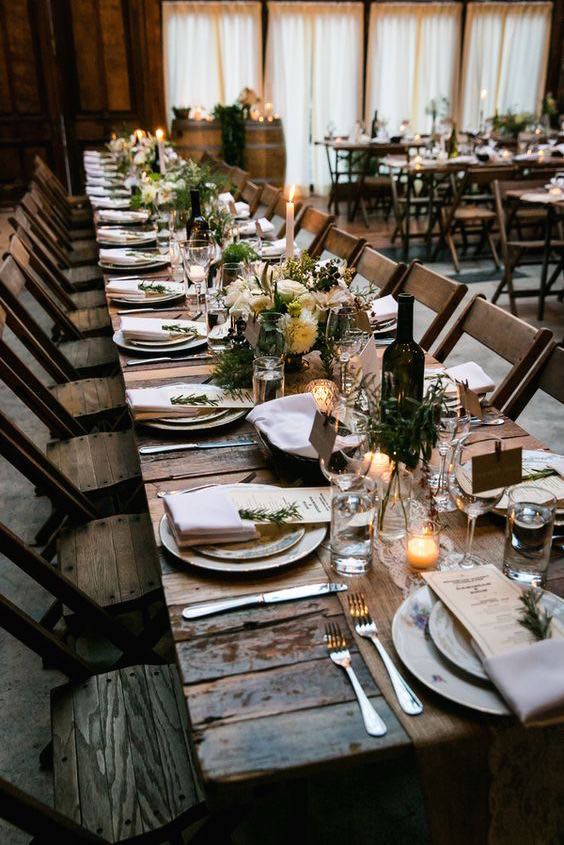 An intimate family-style wedding reception at Brooklyn Winery.