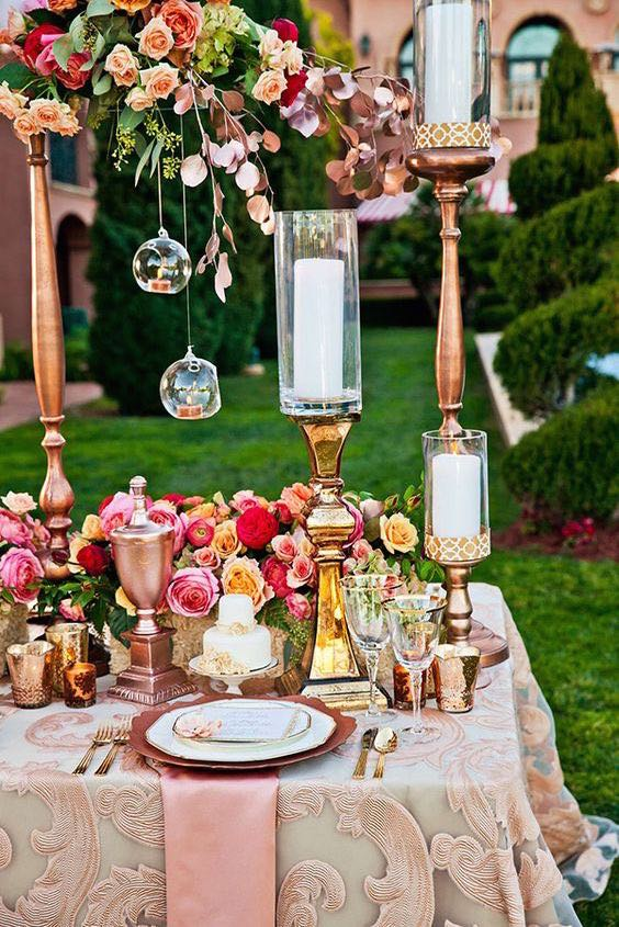 Rose gold wedding inspiration that takes our breath away as a trending color palette featuring bridal styles that will help you find yours.